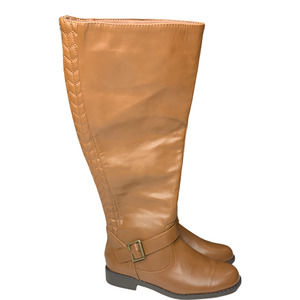 JustFab Knee High Faux Leather Riding Boots